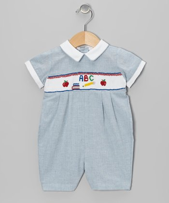 Blue ABC Smocked Romper - Infant