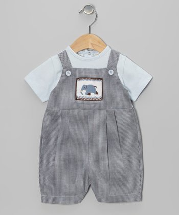 Blue Gingham Smocked Romper - Infant