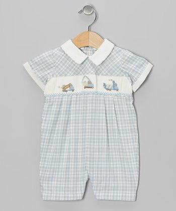 Blue Plaid Trucks Smocked Romper - Infant