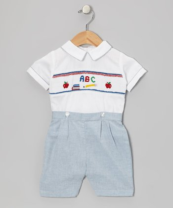 White ABC Top & Blue Shorts - Infant