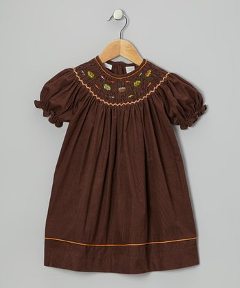 Brown Leaves Bishop Dress - Infant & Toddler