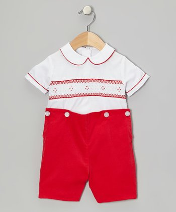 White Smocked Top & Red Shorts - Infant