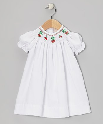 White Christmas Ornament Bishop Dress - Infant & Toddler