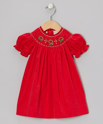 Red Wreath Bishop Dress - Infant