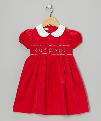 Red Wreath Smocked Dress - Toddler