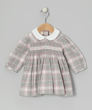 Pink & Gray Plaid Smocked Dress - Infant
