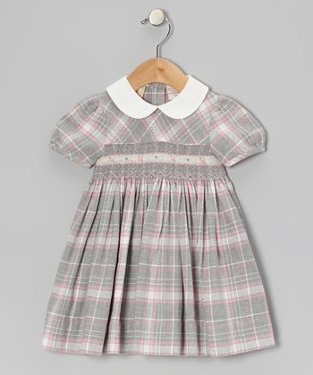Pink & Gray Plaid Short-Sleeve Dress - Infant & Girls