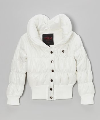 White Snap Puffer Coat - Girls