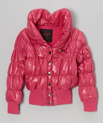 Fuchsia Snap Puffer Coat - Girls