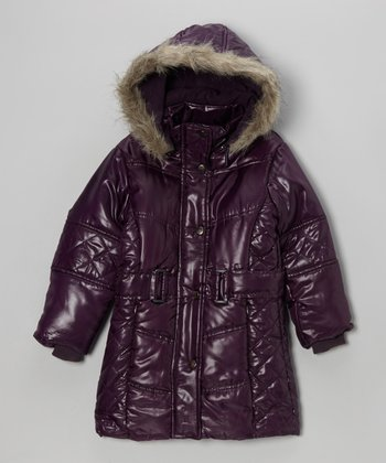 Purple Hooded Puffer Coat - Toddler & Girls