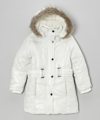 White Hooded Puffer Coat - Girls