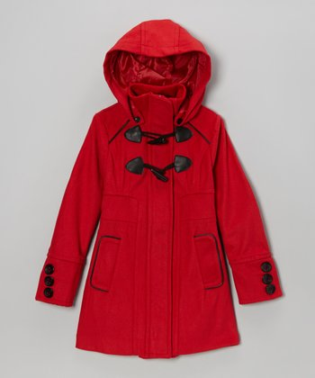 Red Toggle Hooded Coat - Girls