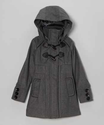 Charcoal Toggle Hooded Coat - Girls