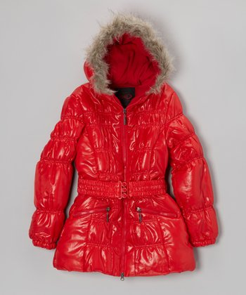 Red Belted Hooded Puffer Coat - Girls