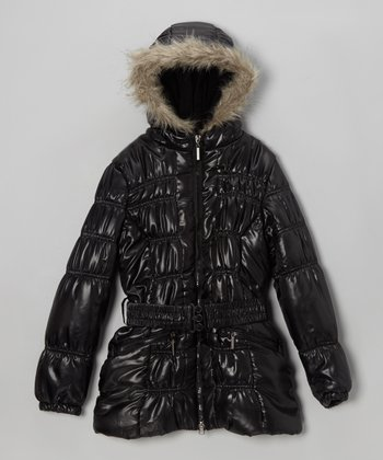 Black Belted Hooded Puffer Coat - Toddler & Girls