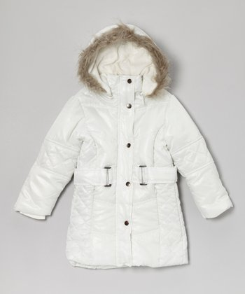 White Belted Hooded Puffer Coat - Toddler & Girls