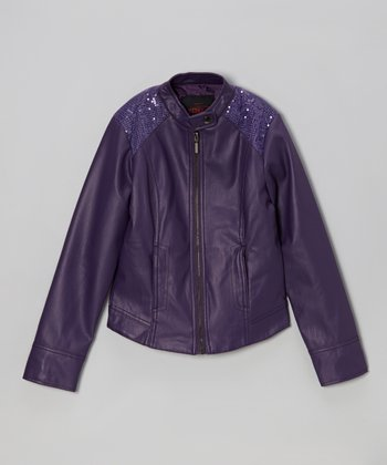 Purple Shimmer Faux Leather Jacket - Girls