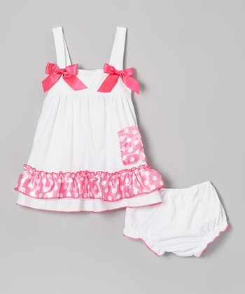 White & Pink Polka Dot Ruffle Dress & Diaper Cover - Infant