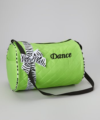 Green 'Dance' Zebra Ribbon Duffel Bag