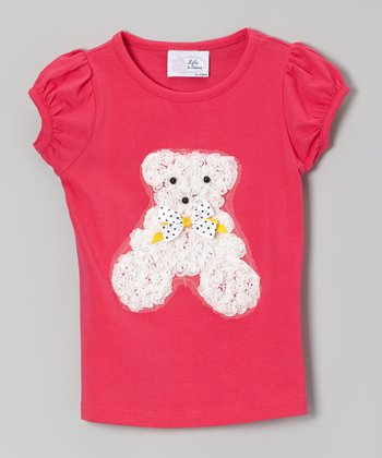 Fuchsia Rosette Bear Puff-Sleeve Tee - Infant, Toddler & Girls