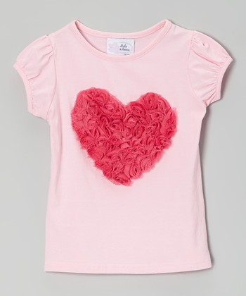 Pink Rosette Heart Puff-Sleeve Tee - Infant, Toddler & Girls
