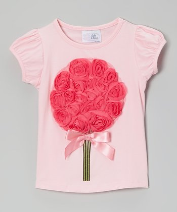 Pink Bouquet Puff-Sleeve Tee - Infant, Toddler & Girls