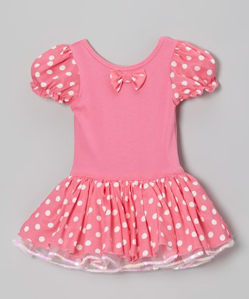 Pink Polka Dot Puff-Sleeve Dress - Infant, Toddler & Girls