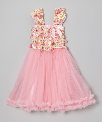 Pink Floral Ruffle Tulle Babydoll Dress - Infant, Toddler & Girls