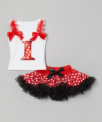 White '1' Ruffle Tank & Red Polka Dot Pettiskirt - Infant