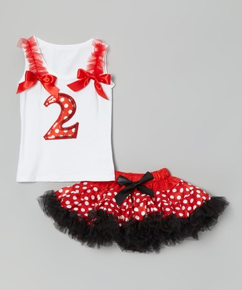 White '2' Ruffle Tank & Red Polka Dot Pettiskirt - Toddler