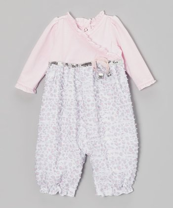Light Pink Sparkle Surplice Playsuit - Infant