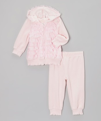 Pink Ruffle Zip-Up Hoodie & Pants - Infant & Toddler