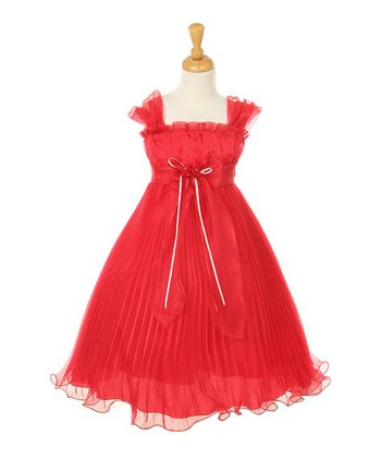 Coral Bow Pleated Babydoll Dress - Toddler & Girls