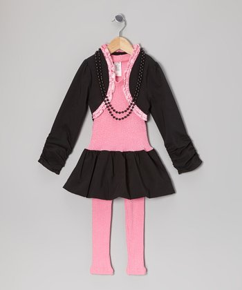 Pink & Black Ruffle Bolero Set - Toddler & Girls