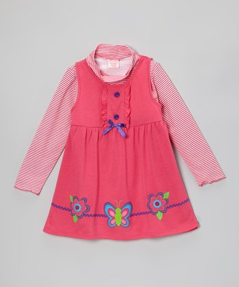 Pink Butterfly & Blossom Layered Dress - Toddler & Girls