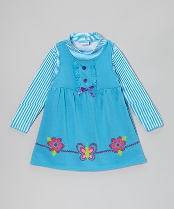 Blue Butterfly & Blossom Layered Dress - Toddler & Girls