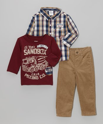 Blue Plaid 'Mixing Co.' Button-Up Set - Toddler