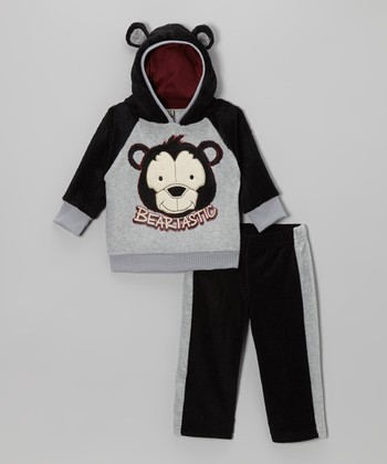 Gray Bear Hoodie & Black Track Pants - Infant