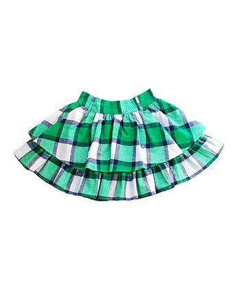 Green & Navy Plaid Layered Skirt - Toddler & Girls