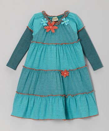 Turquoise Dylan Ruffle Dress - Toddler & Girls