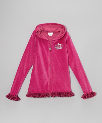 Fuchsia Houndstooth Celebrity Zip-Up Hoodie - Toddler & Girls