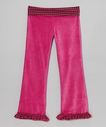 Fuchsia Houndstooth Velour Celebrity Pants - Toddler & Girls