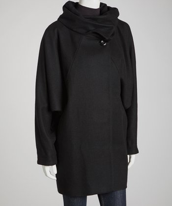 Black Wool-Blend Cowl Neck Jacket
