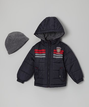 Navy & Red 'Awesome' Bubble Jacket & Beanie - Infant & Toddler