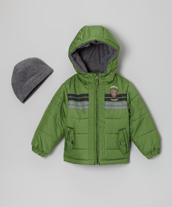 Green 'Awesome' Bubble Jacket & Beanie - Infant & Toddler