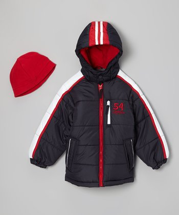 Navy & Red Bubble Jacket & Beanie - Infant & Toddler