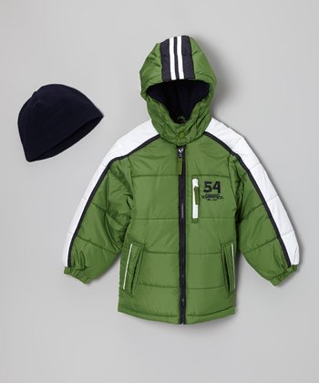 Green '54' Bubble Jacket & Beanie - Boys