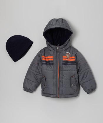 Gray & Orange 'Awesome' Bubble Jacket & Beanie - Toddler