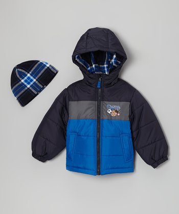 Blue 'Champ' Bubble Jacket & Beanie - Toddler