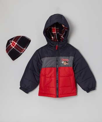 Red 'Champ' Bubble Jacket & Beanie - Toddler